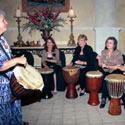 Drumming at Fur Ball with Jana Broder