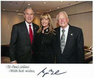 Bo Derek with her dad and President George W. Bush