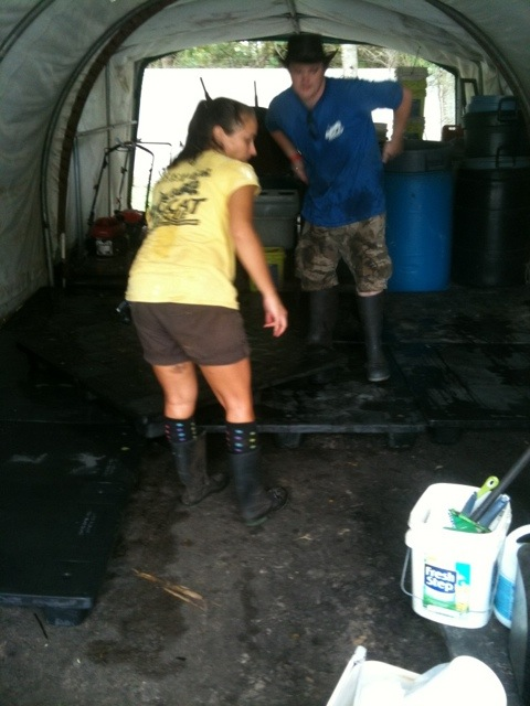 Chrissy and Callum Cleaning Out Bucket Shed