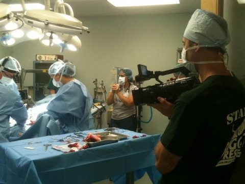 Chris Has to Scrub and Cover to Film Surgery