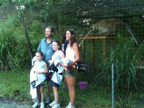 VIP family tour, braves the rain to see Simba leopard do Operant w/ Gale
