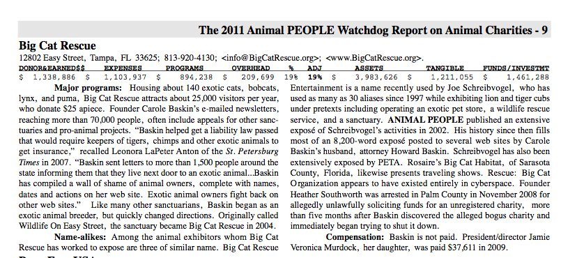 2011 Animal People Watchdog Report