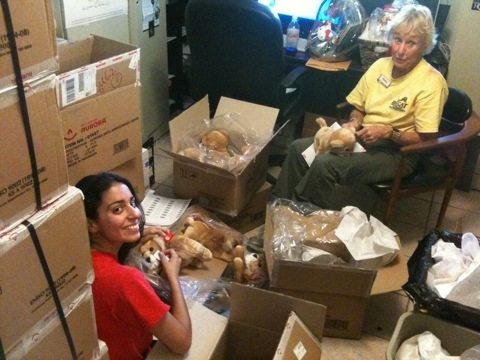 Phil and new Red shirt volunteer unpacking boxes in gift shop