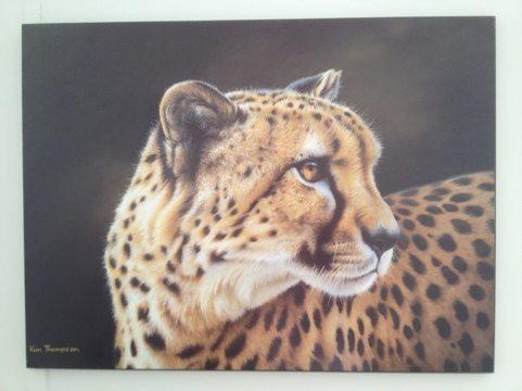 Donated artwork.  Painting of Cheetah.