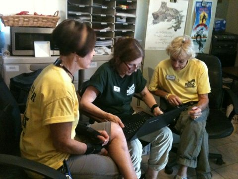 Diana, Pamela and Phyllis working in the customer service area of Big Cat Rescue