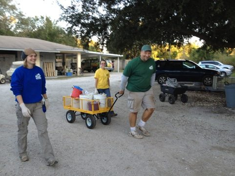 Matt, Marci and Katy head out to feed the big cats at the sanctuary
