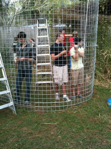 Volunteers help build a small room addition for Windstar the bobcat