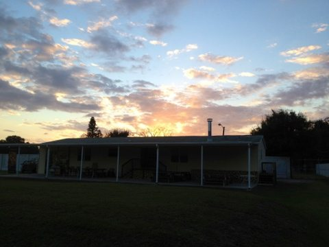 Sun sets over the Party House at Big Cat Rescue ending another beautiful day