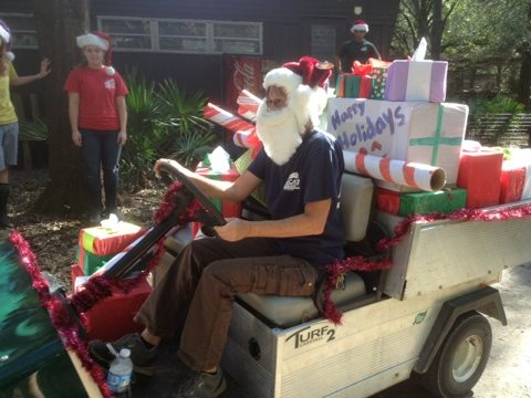 Santa and her elves load the sleigh to give presents to the lions and tigers