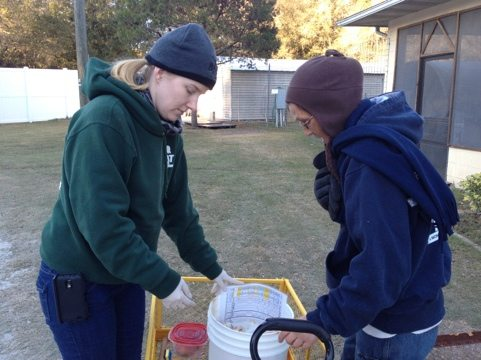 Chelsea and Gale prepare to feed cats in the chilly 40 degrees