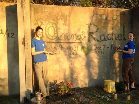 Interns each plant a climbing bush and paint their names on the E Wall