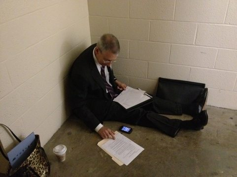 Howie and I on a big cat conference call in the stairwell of the Capitol building
