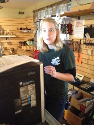 Chelsea in the Trading Post Gift Shop