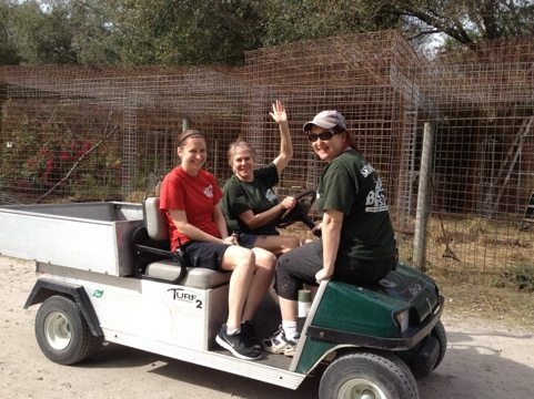 Green Shirts Lisa and Maureen shuttling a new Red Shirt Trainee