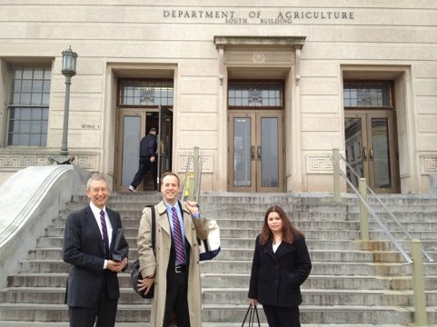 In front of the USDA building in Washington, DC