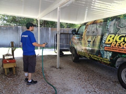 Interns prepare the van for the night out at the Green Iguana