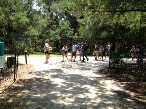 Visitors enjoy the shady paths and knowledgable tour guides