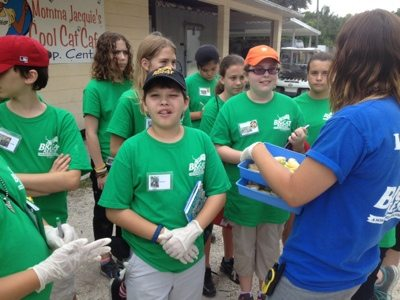 "Summer campers don gloves before handling cat ""food"""