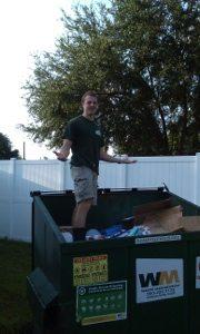 Chris smashing down the recycle cardboard