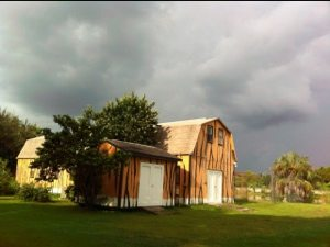 Ominous clouds move in over Intern Housing at Big Cat Rescue