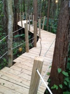 The Cat Walk is pressure washed in preparation for the Haunted Trail