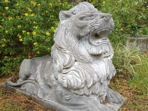 Donated marble lions guard our cemetery
