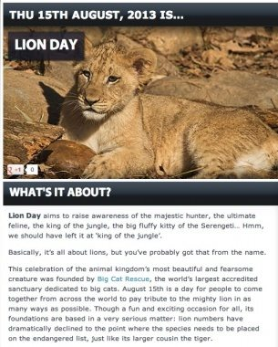 Lion Day Aug 15 2013