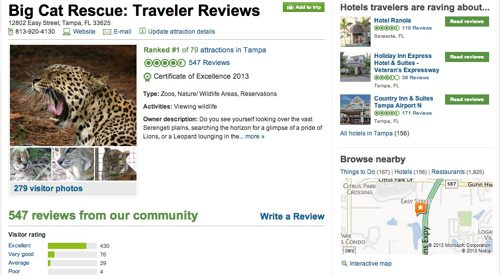 Big Cat Rescue is Number 1 on Trip Advisor