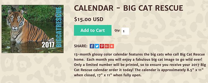 2017 big cat calendar