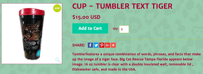 sale cup tiger text