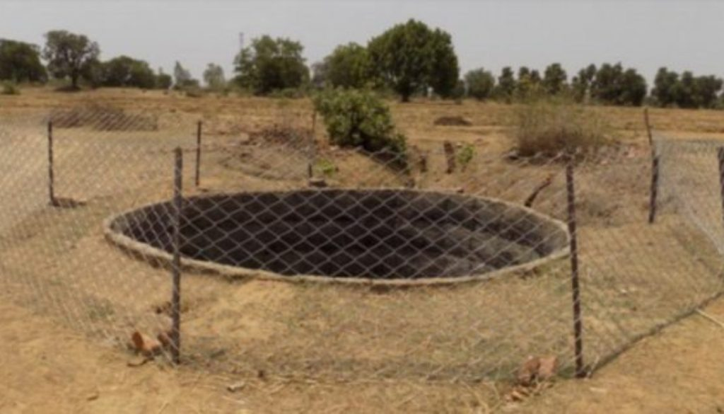 Example of fenced farm well in the Bandhavgarh Tiger Reserve in India. Photo courtesy of Corbett Foundation