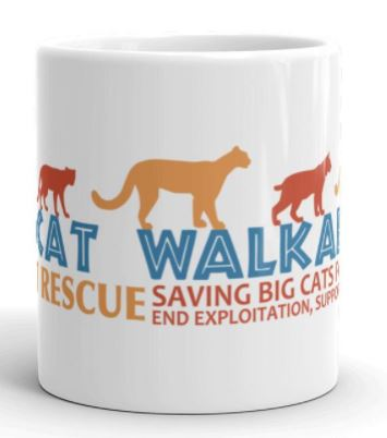 "Celebrate Big Cat Rescue's 25th anniversary and help support conservation projects aimed at saving tigers, ocelots, cougars, bobcats, and lions in the wild with the purchase of this awesome 2017 Wildcat Walkabout mug. Graphic features the Wildcat Walkabout logo silhouettes of tiger, ocelot, cougar, bobcat, and lion and the text ""Wildcat Walkabout - Big Cat Rescue - 25 Saving Big Cats for 25 Years - End Exploitation, Support Conservation. Proceeds from the sale of these mugs go towards; Primorskii Regional Non-commercial Organization in Russia, S.P.E.C.I.E.S. in Trinidad, The Mountain Lion Foundation and the Felidae Conservation Fund in California, and Working Dogs for Conservation in Africa. This brawny version of ceramic mugs shows its true colors with quality assurance to withstand heat in the microwave and put it through the dishwasher as many times as you like, the quality will not be altered."