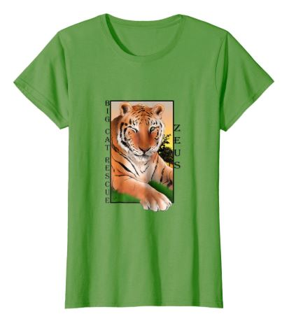 Zeus Tiger Sunset Tee Shirt in Green