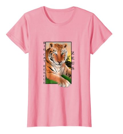Zeus Tiger Sunset Tee Shirt in Pink