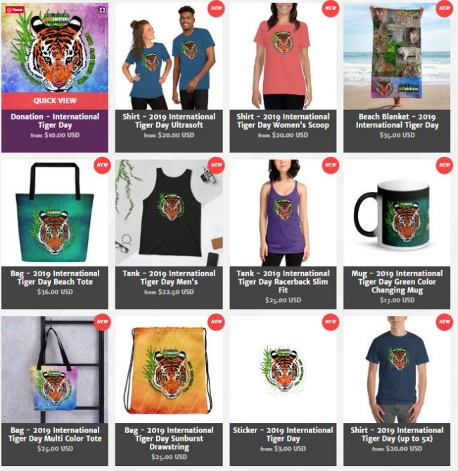Products to raise funds for International Tiger Day 2019