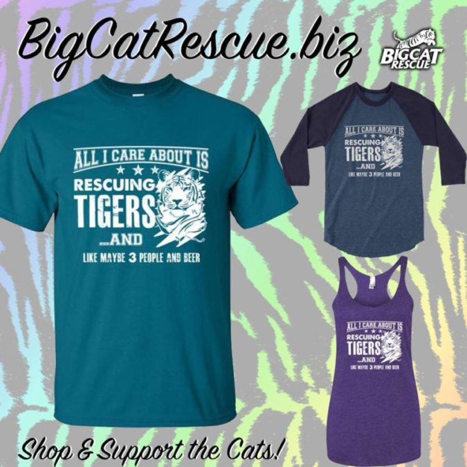 Big Cat Rescue Merchandise - Help Us Rescue and Care for Tigers by Wearing this Fun Design Available on Baseball Tees, Tee Shirts, and Tanks.