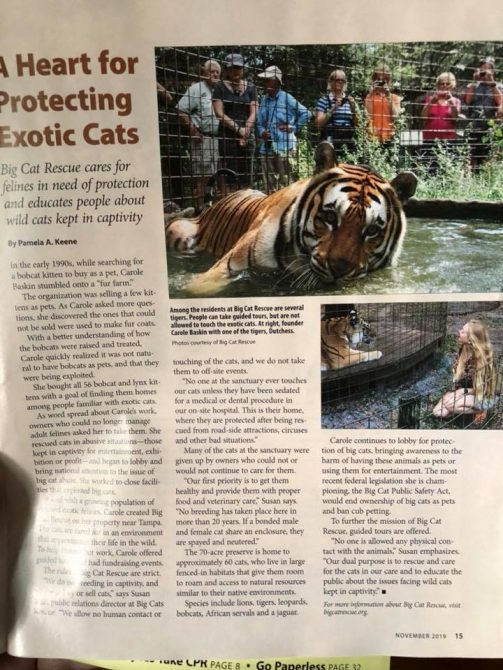 THANK YOU to Florida Currents Magazine for this article about Big Cat Rescue. https://www.floridacurrents.com/a-heart-for-protecting-exotic-cats/